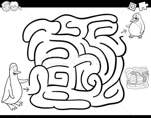 Labirintus játék oldal feketefehér rajz illusztráció Stock fotó © izakowski