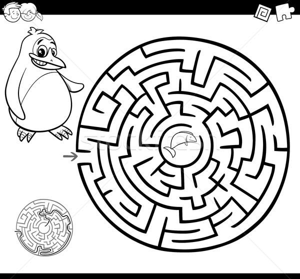 Labirintus labirintus oldal rajz illusztráció oktatás Stock fotó © izakowski