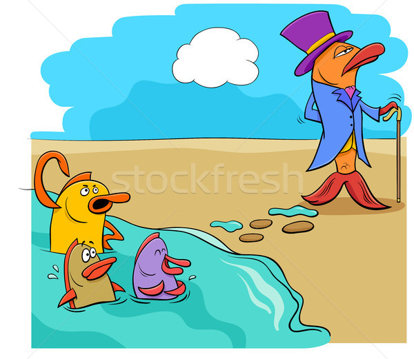 saying fish out of water humor cartoon Stock photo © izakowski