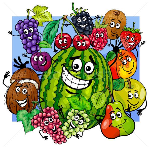 ストックフォト: フルーツ · グループ · 漫画 · 実例 · 果物