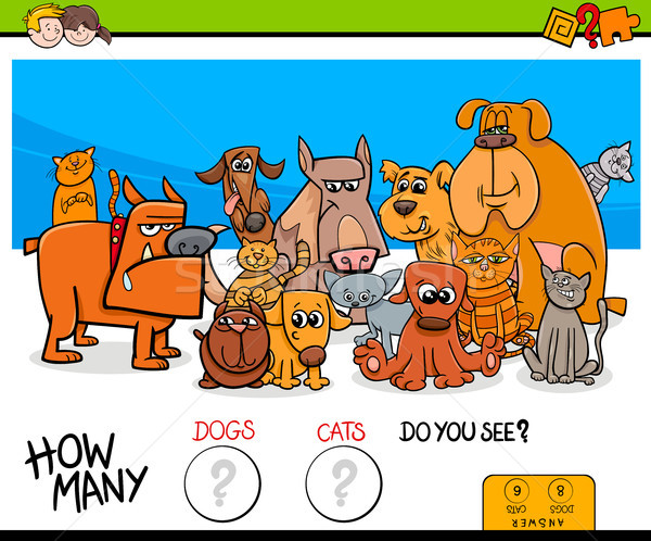 counting cats and dogs educational game for kids Stock photo © izakowski