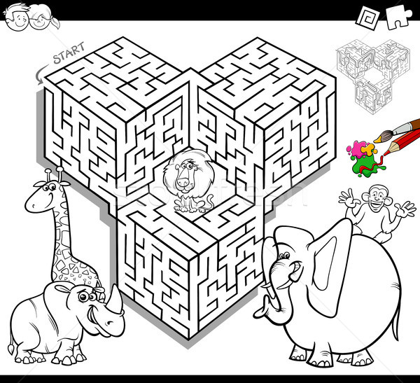 Maze Coloring Book With Safari Animals Vector Illustration Igor