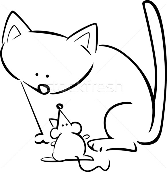 cat and mouse coloring pages - cartoon doodle of cat and mouse for coloring vector