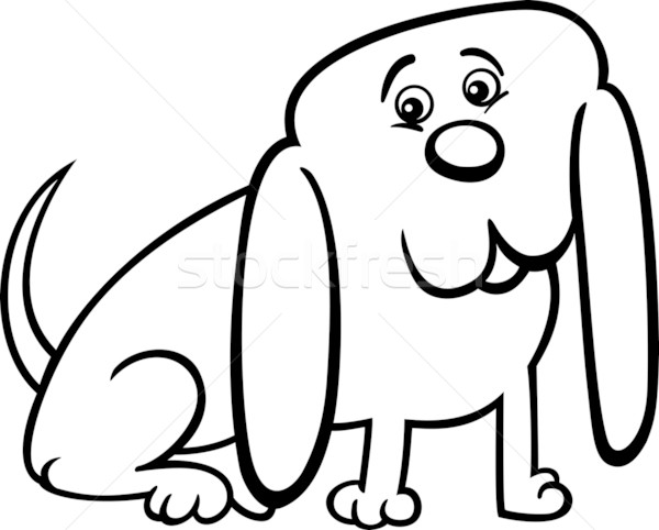 little dog cartoon illustration for coloring Stock photo © izakowski