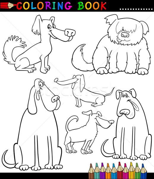 Stockfoto: Cartoon · honden · puppies · kleurboek · pagina · zwart · wit