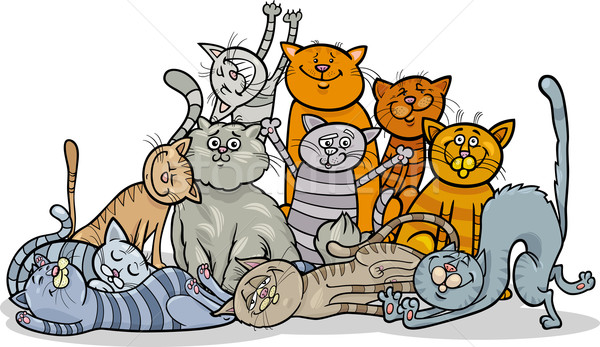 happy cats group cartoon illustration Stock photo © izakowski