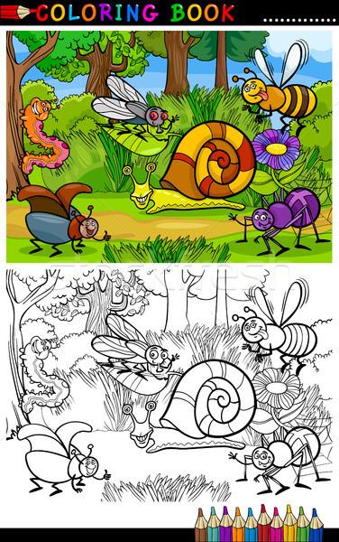 Rajz rovarok bogarak kifestőkönyv oldal illusztráció Stock fotó © izakowski