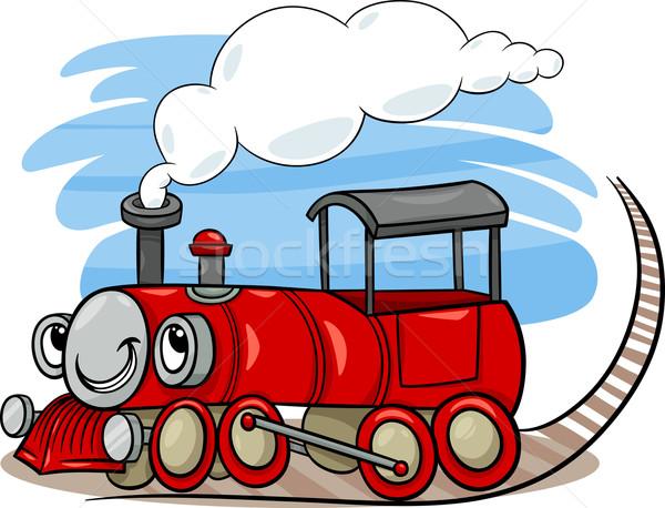 Cartoon locomotive moteur personnage illustration drôle Photo stock © izakowski