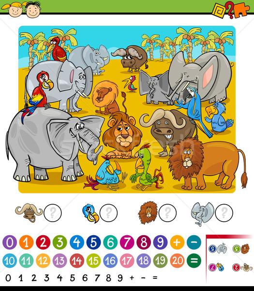 Spel cartoon illustratie onderwijs wiskundig safari dieren Stockfoto © izakowski