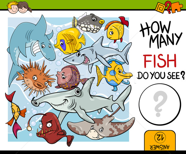 counting fish preschool task Stock photo © izakowski