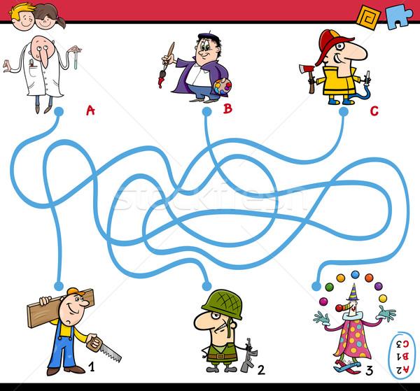 Labirinto tarefa atividade crianças desenho animado ilustração Foto stock © izakowski