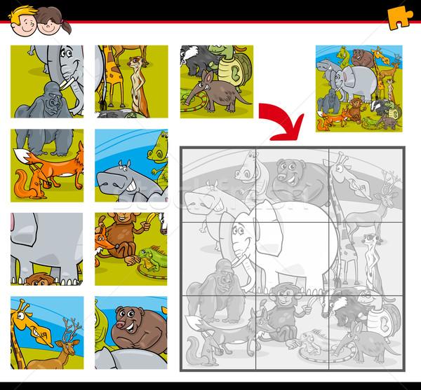 Kirakós játék játék állatok rajz illusztráció oktatás Stock fotó © izakowski