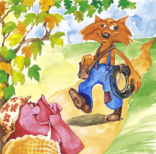 Mrs Pig and Plumber Fox Stock photo © izakowski