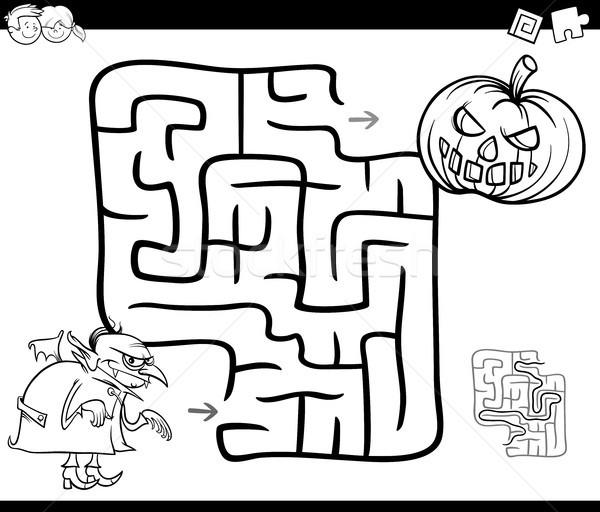 Halloween labirinto attività bianco nero cartoon illustrazione Foto d'archivio © izakowski