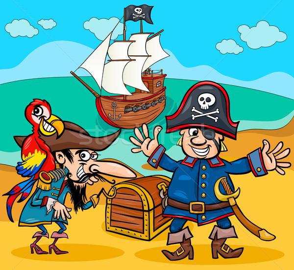 Piratas tesouro ilha desenho animado ilustrações pirata Foto stock © izakowski