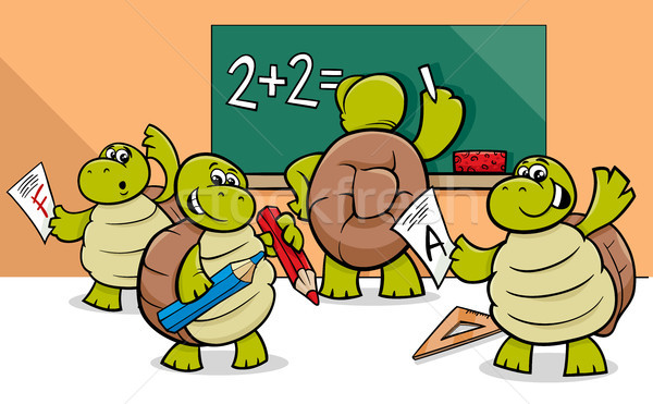 turtle cartoon characters in classroom Stock photo © izakowski