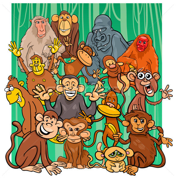 cartoon monkey characters group Stock photo © izakowski