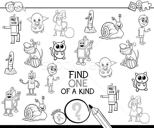 one of a kind cartoon game coloring book Stock photo © izakowski
