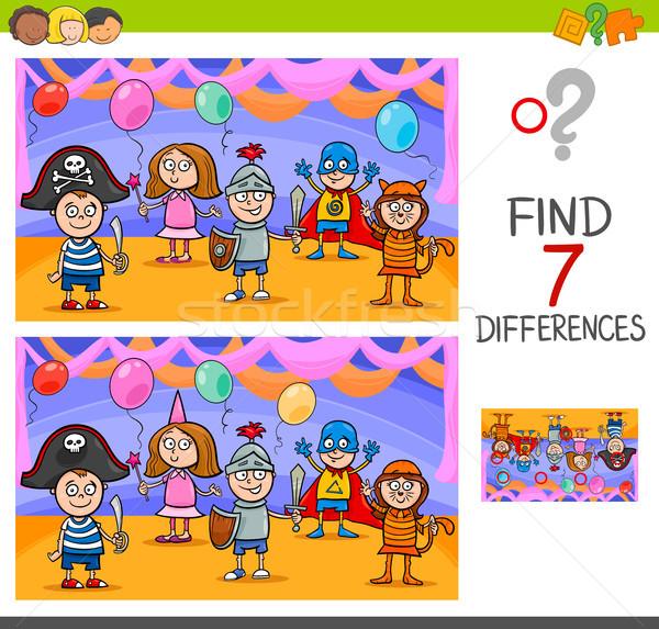 Diferenças jogo crianças bola desenho animado ilustração Foto stock © izakowski