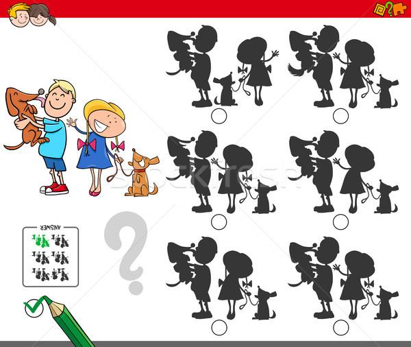 Pädagogisch Schatten Spiel Kinder Hunde Karikatur Stock foto © izakowski