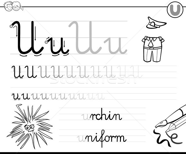 learn to write letter U workbook for kids Stock photo © izakowski