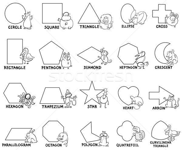basic geometric shapes with animal characters Stock photo © izakowski