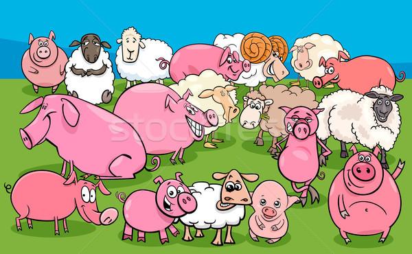 Domuzlar koyun grup karikatür Stok fotoğraf © izakowski
