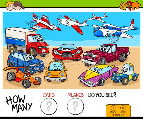 counting cars and planes educational game Stock photo © izakowski