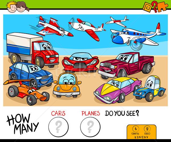 Coches aviones educativo juego Cartoon ilustración Foto stock © izakowski