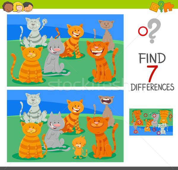 находить различия деятельность игры кошек Cartoon Сток-фото © izakowski