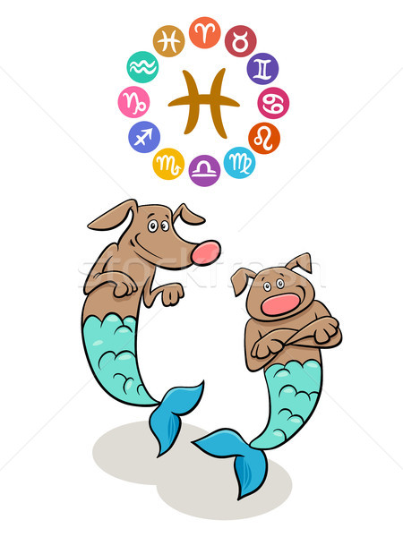 Pisces Zodiac sign with cartoon dog Stock photo © izakowski