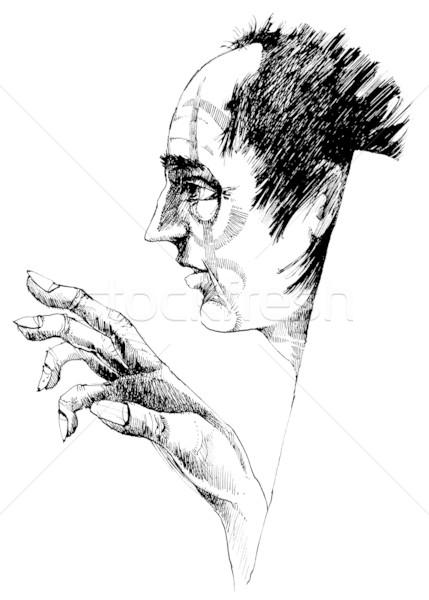 Vreemd tekening illustratie gezicht kunst zwarte Stockfoto © izakowski