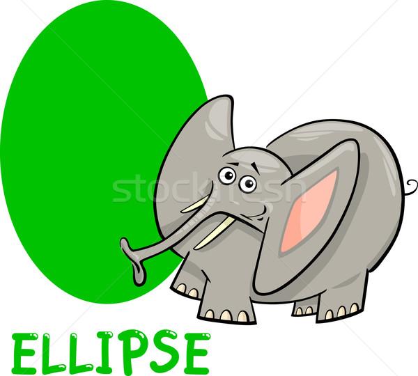 ellipse shape with cartoon elephant Stock photo © izakowski