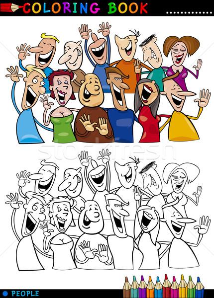 Happy People group for coloring Stock photo © izakowski