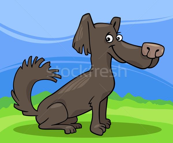 Pequeno desgrenhado cão desenho animado ilustração engraçado Foto stock © izakowski