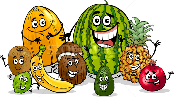 tropical fruits group cartoon illustration Stock photo © izakowski