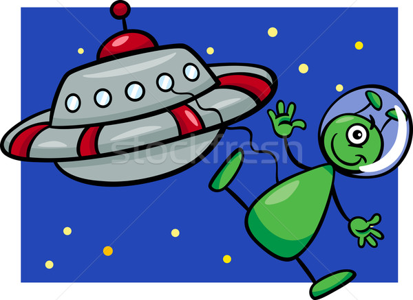 alien with ufo cartoon illustration Stock photo © izakowski
