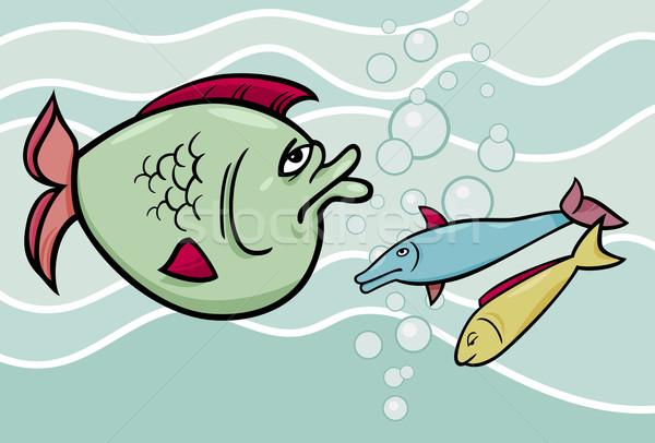 big fish in the sea cartoon illustration Stock photo © izakowski