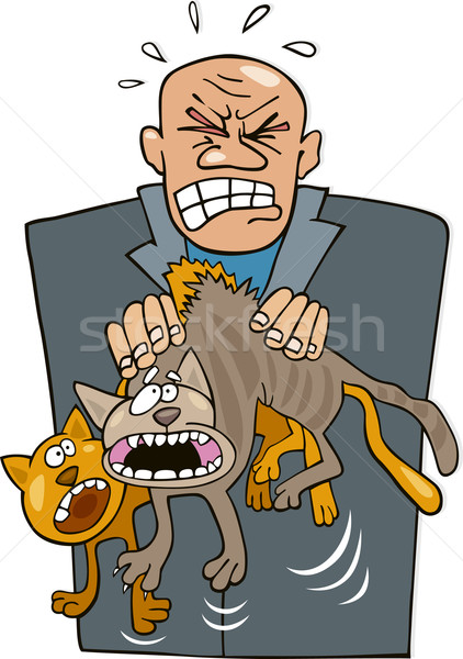 Angry man with cats Stock photo © izakowski