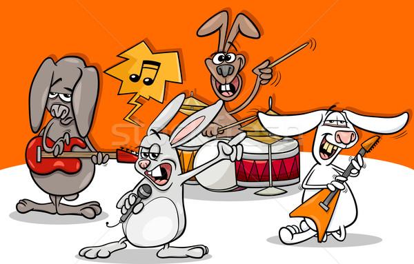 Nyulak rockzene zenekar rajz illusztráció vicces Stock fotó © izakowski