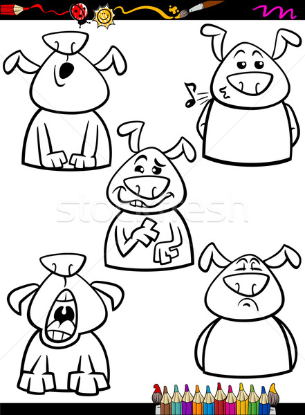 dog emotion set cartoon coloring page Stock photo © izakowski
