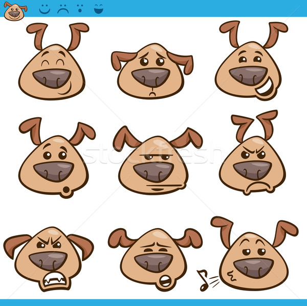 Stock photo: dog emoticons cartoon illustration set