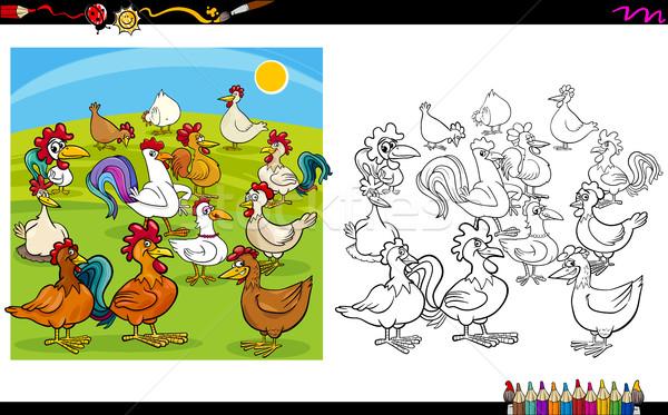 Tavuk Boyama Kitabı Karikatür örnek Etkinlik Vektör