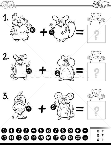 addition educational activity for coloring Stock photo © izakowski