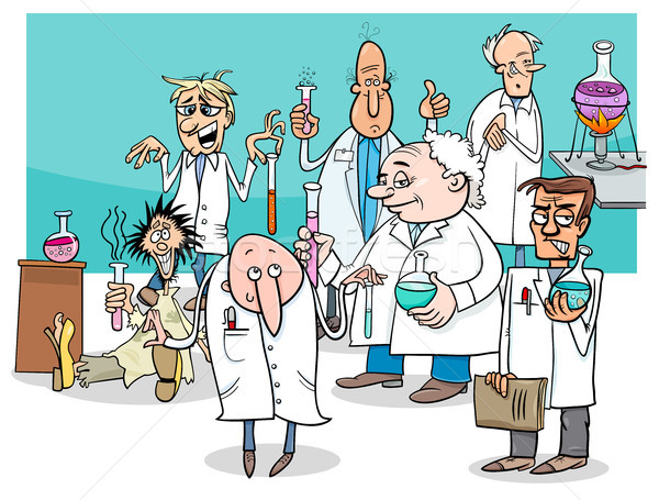 Stock photo: cartoon scientists characters group