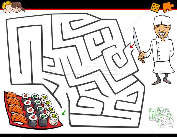 Desenho animado labirinto atividade chef sushi ilustração Foto stock © izakowski