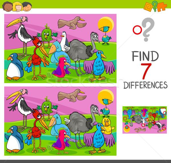 スポット 違い ゲーム 鳥 漫画 ストックフォト © izakowski