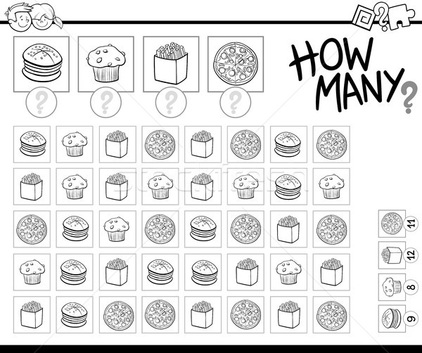 counting food objects coloring book Stock photo © izakowski