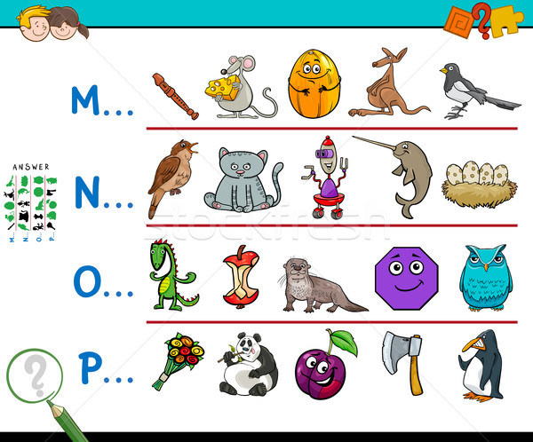 first letter of a word activity game for kids Stock photo © izakowski