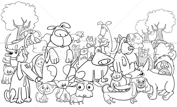 Stock photo: cartoon dog and cats characters color book